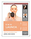 Picture of calm teenage girl with digital camera Poster Template
