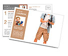 Full length portrait of happy tourist photographer man on white background Postcard Templates