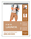 Full length portrait of happy tourist photographer man on white background Poster Template