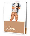 Full length portrait of happy tourist photographer man on white background Presentation Folder