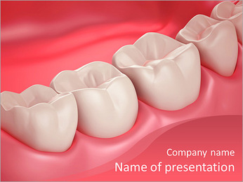 3D teeth or tooth close up illustration PowerPoint Template
