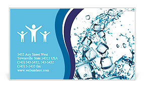 Water splash with ice cubes Business Card Templates