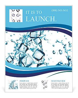 Всплеск воды с кубиками льда Флайеры