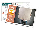 Male holds a square canvas primed Postcard Templates