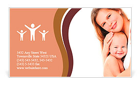 Young mother hugging baby Business Card Template