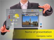 Цифровой мир концепции графика, презентации выступил бизнесмен на футуристический интерфейс пользователя Шаблоны презентаций PowerPoint