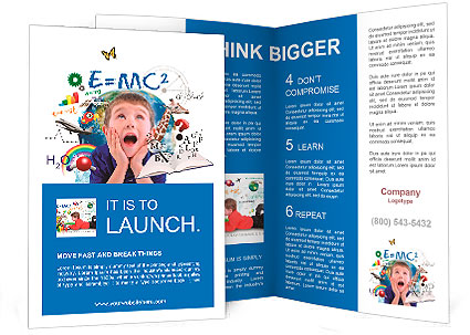 math brochure template - a young boy is looking up at different science math and