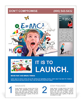 a young boy is looking up at different science math and physics icons around him on a white backgro flyer template