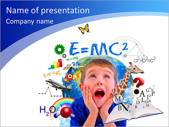 A young boy is looking up at different science, math and physics icons around him on a white backgro PowerPoint Template