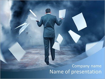 A Businessman Letting go of paperwork in a storm PowerPoint Template