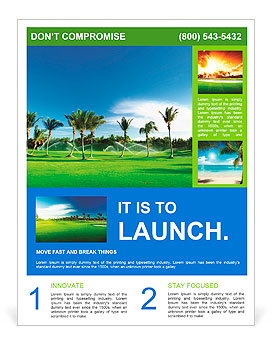 Irrigation Golf Course In Dominican Republic Flyer Template - Golf brochure templates