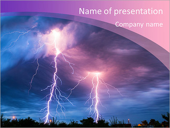 Clouds and thunder lightnings and storm PowerPoint Template