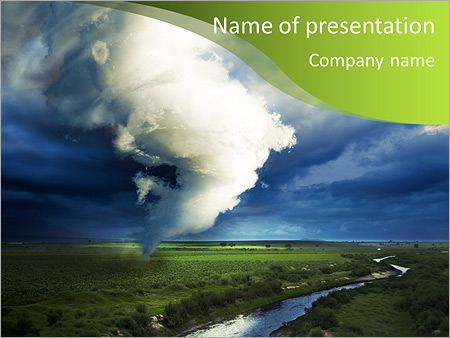 tornado about to make damage powerpoint template & backgrounds id, Modern powerpoint