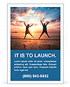 Concept of long-awaited vacation: Young couple in a jump on the sea beach at sunset. Ad Template