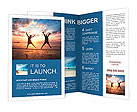 Concept of long-awaited vacation: Young couple in a jump on the sea beach at sunset. Brochure Template
