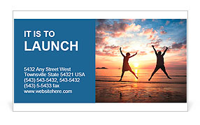 Concept of long-awaited vacation: Young couple in a jump on the sea beach at sunset. Business Card Template