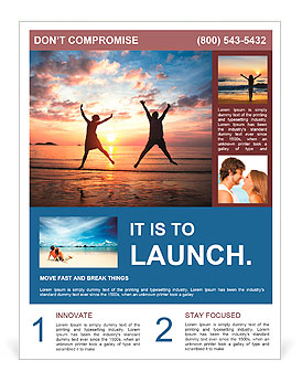 Concept of long-awaited vacation: Young couple in a jump on the sea beach at sunset. Flyer Template