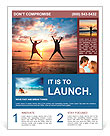 Concept of long-awaited vacation: Young couple in a jump on the sea beach at sunset. Flyer Templates