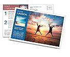 Concept of long-awaited vacation: Young couple in a jump on the sea beach at sunset. Postcard Template