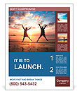 Concept of long-awaited vacation: Young couple in a jump on the sea beach at sunset. Poster Template