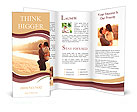 Young beautiful couple in love staying and kissing on the beach on sunset. Soft sunny colors. Brochure Template