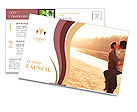 Young beautiful couple in love staying and kissing on the beach on sunset. Soft sunny colors. Postcard Template