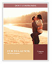 Young beautiful couple in love staying and kissing on the beach on sunset. Soft sunny colors. Word Template