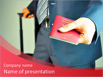 Traveling businessman handing passport PowerPoint Template