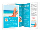Vacation holidays. Woman feet closeup of girl relaxing on beach on sunbed enjoying sun on sunny summ Brochure Template
