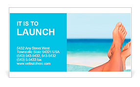 Vacation holidays. Woman feet closeup of girl relaxing on beach on sunbed enjoying sun on sunny summ Business Card Template