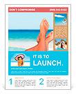 Vacation holidays. Woman feet closeup of girl relaxing on beach on sunbed enjoying sun on sunny summ Flyer Template