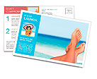 Vacation holidays. Woman feet closeup of girl relaxing on beach on sunbed enjoying sun on sunny summ Postcard Template