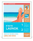 Vacation holidays. Woman feet closeup of girl relaxing on beach on sunbed enjoying sun on sunny summ Poster Template
