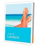 Vacation holidays. Woman feet closeup of girl relaxing on beach on sunbed enjoying sun on sunny summ Presentation Folder