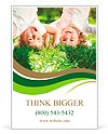 Happy children playing head over heels on green grass in spring park Ad Template