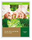 Happy children playing head over heels on green grass in spring park Word Templates