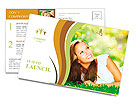 Spring Beauty Girl. Beautiful Young Woman Lying on Green Grass outdoor. Park. Meadow. Summer. Spring Postcard Template
