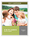 Happy family with flowers having fun outdoors in spring field Word Template