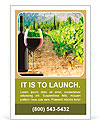 Bottle and glass of red wine on vineyard background Ad Templates