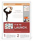 Flexible young girl in yoga pose over white background Flyer Template