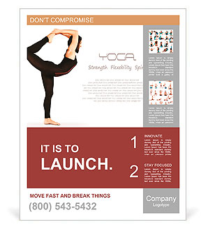 Flexible young girl in yoga pose over white background Poster Template