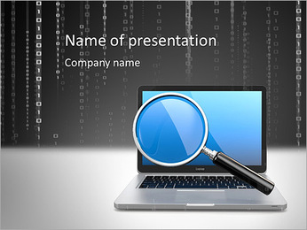Search. Laptop and loupe in white background. 3d PowerPoint Template