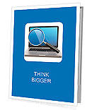 Search. Laptop and loupe in white background. 3d Presentation Folder