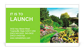 Flowerbeds and Winding Pathway in an English Formal Garden Business Card Template