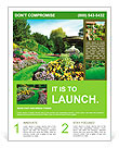 Flowerbeds and Winding Pathway in an English Formal Garden Flyer Template