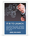 Businessman hand draws gear to success concept Ad Template