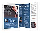 Businessman hand draws gear to success concept Brochure Templates