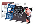 Businessman hand draws gear to success concept Postcard Template