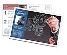 Businessman hand draws gear to success concept Postcard Templates