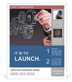Businessman hand draws gear to success concept Poster Template